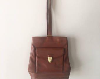 Vintage 90s Brown Leather Liz Claiborne Mini Backpack, Brown Leather Bucket Bag, Vintage Leather Bag, 90s Mini Backpack