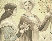 Antique 1904 Art Postcard Two Maidens Gathering Flowers Tinsel Postcard – Elegant Novelty Postcard