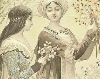 Antique 1904 Art Postcard Two Maidens Gathering Flowers Tinsel Postcard – Elegant Novelty Postcard