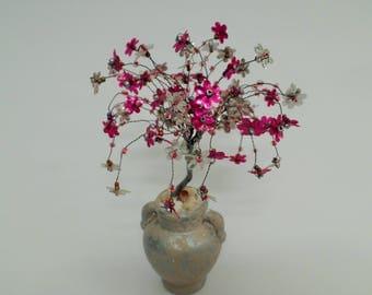 wire tree sculpture,beaded tree,pink tree, bonsai tree,tree of life,feng shui tree,pink tree,flowering tree,tree art,