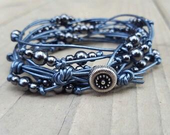 Multi Strand Blue Leather and Bead Bracelet