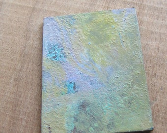 1 Copper Blank Pendant w Homemade Verdigris and Paint