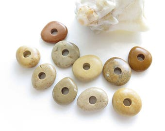 Center Drilled Beach Stones, Multicolor Mix Roundish Pebbles, Jewelry Supplies River rocks, Natural Stone Beads, Drilled Sea Stones