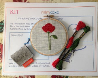 "mlmxoxo.  Embroidery KIT.  modern hand embroidery kit.  poppy embroidery pattern. DIY needlework kit. floral home decor. flower 4"" hoop art."