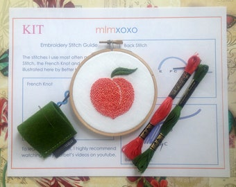 "Embroidery KIT by mlmxoxo.  modern hand embroidery kit. Georgia peach embroidery pattern.  DIY stitch kit.  needlework kit.  4"" hoop kit."