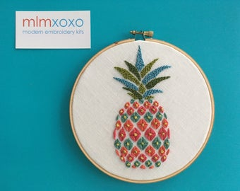 Pineapple embroidery KIT by mlmxoxo.  modern embroidery kit.  embroidery pattern.  DIY needlework kit.  psychedelic.  housewarming gift.