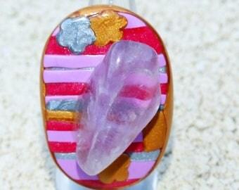 Amethyst gemstone, polymer clay ring