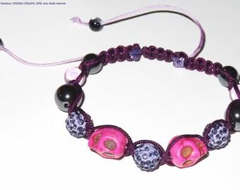 Shamballa bracelet fuchsia, purple, plum cord, crystals, skulls, Hematite