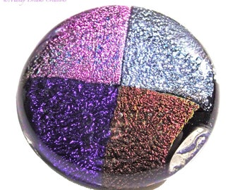 Round brooch in dichroic gloss glass purple, pink, silver, brown, handmade, unique piece