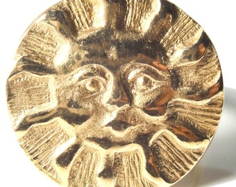 Gilded sun ring, luminous reliefs, hand-crafted gilded bronze paste