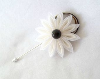 Ivory and White Flower Boutonniere Organza Fiber Art Brooch
