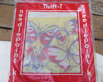 Thrift-T Needlepoint Kit Butterflies Vintage Needlepoint Kit Thrify Kit Unopened Craft Kit by Thrif-T Acrylic Tapestry and Yarn Easy Instruc