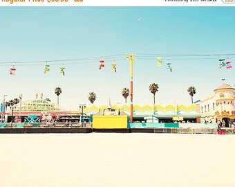 SALE Santa Cruz Boardwalk, California Beach Photography, Pastel Bright Colors, Palm Trees, Sky Gliders, Santa Cruz Beach Print, Colorful Dec