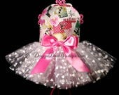 Dog Dress - Dog Tutu Dress - Flowers and Hearts - XXS, XS, Small or Medium