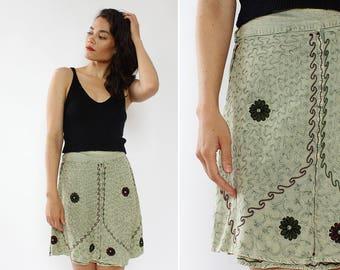Vintage Wrap Skirt • 90s Mini Skirt • Embroidered Skirt • Boho Wrap Skirt • Vintage Mini Skirt • Flared Skirt • 90s Skirt | SK617