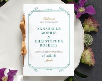 Elegant Wedding Program / 'Bloomsbury' Pocket-sized Order of Service Mass Booklet / Modern Minimal Wedding / Green and Gold / ONE SAMPLE