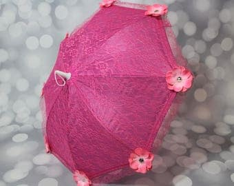 Dark Pink Lace Flower Girl Parasol Sun Umbrella with Pink Flowers, Child's Parasol, Young Girls Tea Party Sun Shade, Photo Prop,17070