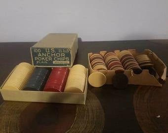 Vintage US Anchor poker chips
