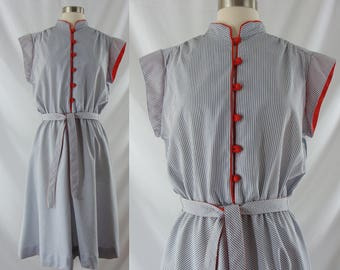 Vintage Eighties Dress - 1980s Striped Day Dress - 80s Blue and White Striped Dress - XL