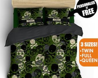 camoflauge camo skulls theme kids teen boys duvet cover pillow case bedding bed set comfortor