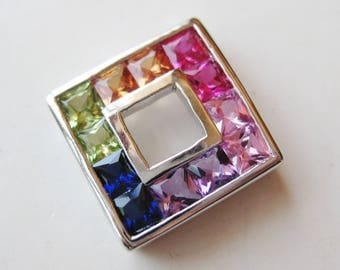 Vintage Square Cut Rainbow Crystal Sterling Silver Necklace Slide Pendant