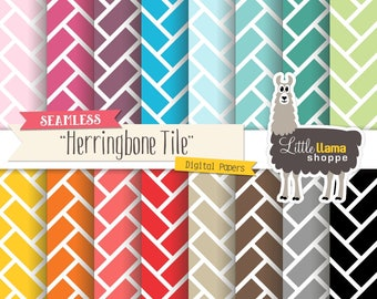 SALE: Herringbone Tile Digital Papers, Seamless Herringbone Printable Scrapbook Paper, Commercial Use Digital Backgrounds