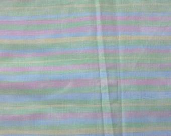 Pastel Striped Cotton Fabric 2 Yards X0892 Pink, Blue, Yellow, Green