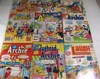 Vintage Lot of Nine 1970's - 1980's Comic Book Digests, Laugh, Archie, Jughead, Betty and Veronica