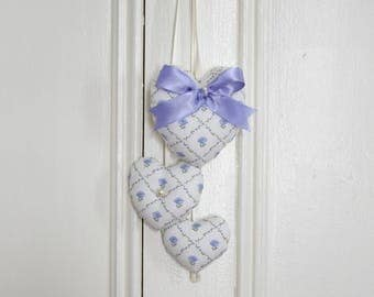 Door Hanger Trio of hearts Laura Blue Lavender Periwinkle Roses Lattice Laura Ashley Wall Hanger Romantic Classic Valentine's Day