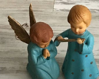 Two Vintage Angel Ornaments / Flute Playing Angel and Praying Angel / Made in Hong Kong / 1950s