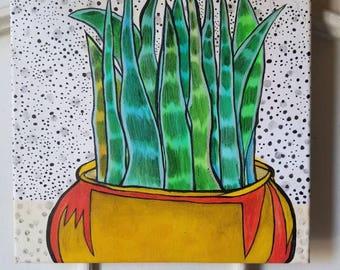 "My Garden - Original painting  12""x12""-"