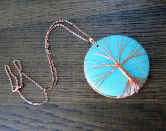 Turquoise Tree of Life Necklace Rose Gold Copper Wire Tree Pendant Gemstone Necklace Beaded Tree of Life Necklace Family Tree Gift for Mom