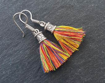 Mini Multicolor Tassel Drop Earrings Bohemian Boho Style Light Comfortable Daytime Jewelry Authentic Turkish Style - FREE SHIPPING