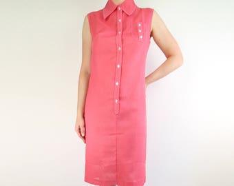 VINTAGE Dress 1960s Pink Shift Dress Sleeveless Collar Shirt Dress Small