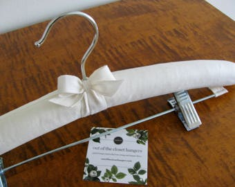 Padded Hanger with Clips, Organic Cotton Skirt hanger, Bridal Skirt Hanger, Pants Hanger, Skirt Hanger, Bridal Slip Hanger, Bottom Hanger