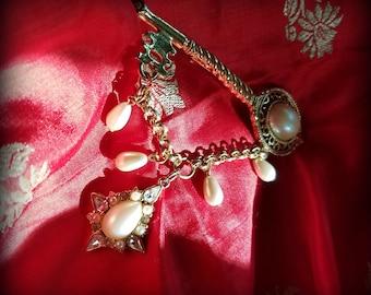 Pearl and Rhinestone Adorned Key Brooch
