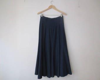 Vintage '70s Circle T by Marilyn Lenox 8-Gore Super Flared Denim Western Skirt, 29 Inch Waist