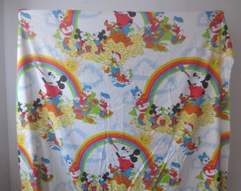 Vintage '70s Walt Disney, Mickey Mouse Twin Sized Flat Sheet by Pacific, Painting Rainbows & Sunshine, 80 x 66 Inches