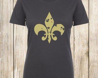 Fleur de lis, shirt, tee, top, ladies, charcoal, heather grey, white, gold, woman, women's, clothing
