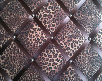 "Pin Board/Notice Board ""Leopard Animal Print' with Chrome Trim"" Message,Memo,Bulletin Board Large 48x40cm / 18x16"""