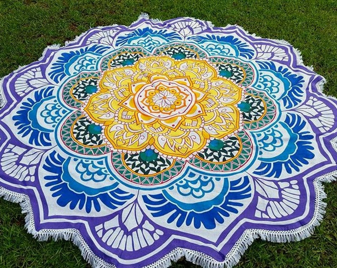 Colorful Lotus Flower Mandala Roundie with White Fringe Mandala Tapestry Beach Blanket Yoga Mat Meditation Mat Dorm Decor Hippie Tapestry