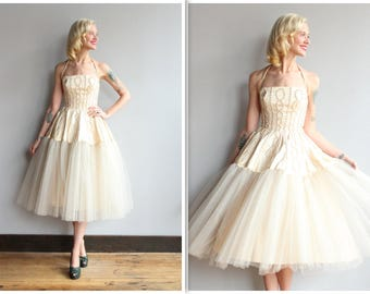 1950s Wedding Dress // Fall Forever Formal Dress // vintage 50s satin & tulle dress