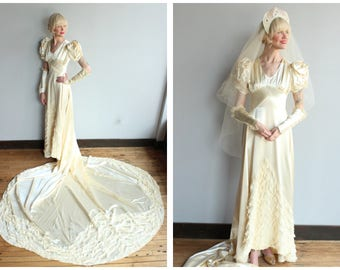 1940s Wedding Gown // Beloved Silk Satin & Lace Wedding Gown with Veil // vintage 40s wedding gown
