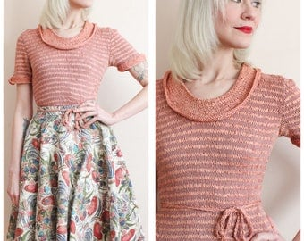1940s Sweater // Ribbon Rayon Knit Sweater // vintage 40s sweater