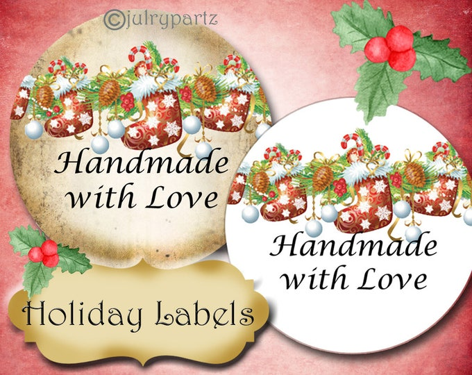PREMADE•60 Custom 1.5 x 1.5 Round STICKERS•Labels•Tags•Package Labels•Custom Stickers•Custom Labels•Christmas Sock