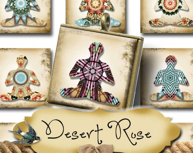 DESERT ROSE•1x1 Square Yoga Images•Printable Digital Images•Cards•Gift Tags•Stickers•Magnets•Digital Collage Sheet
