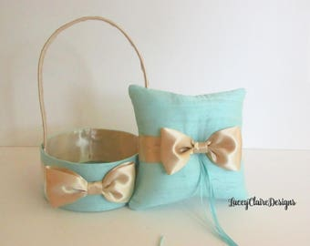 Wedding Ring Bearer Pillow and Flower Girl Basket, Handmade Aqua Blue Pillow Set  - Custom Made