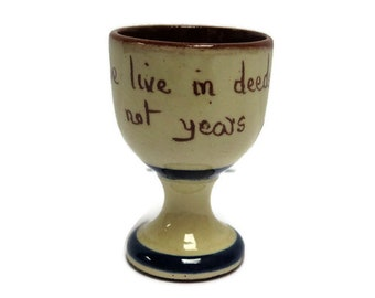 Torquay Motto Ware Egg Cup - Live In Deeds Not Years - Made in England
