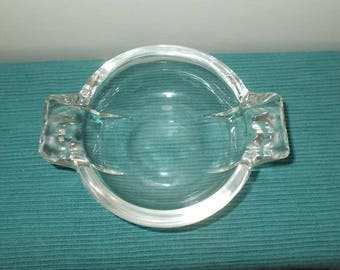 Vintage 1930's / 1940's Art Deco Style Heavy Clear Glass Round Ashtray or Candy Dish or Trinket Tray