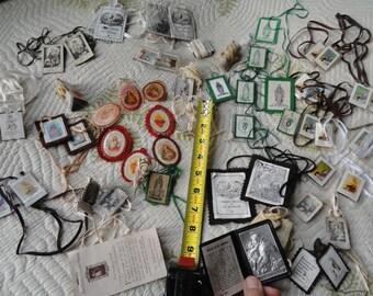 Religious art supplies, Catholic Scapulars, Catholic , altered art supplies, vintage Religious